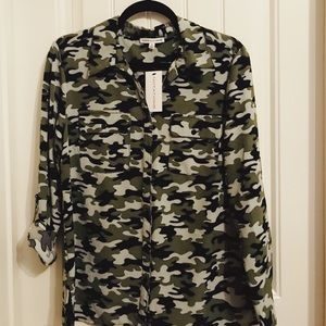 Camo blouse. New with tags. Roll up sleeves.